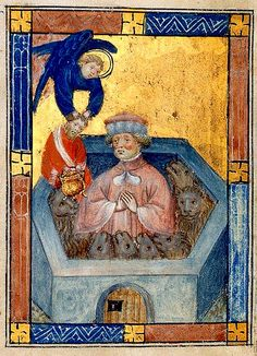 Daniel in Lion's Den. Netherlands c.1405. Kings 5 BL