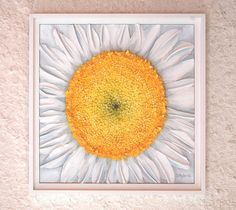 Ohh........ I love this and want it for my kitchen.  Daisy Flower Painting  Abstract White by cathysavelspaintings
