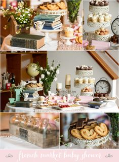 French Market Baby Shower! I know you don't get a second baby shower - wont stop me from pinning dainty pink baby shower ideas <3 I just like the books everywhere!