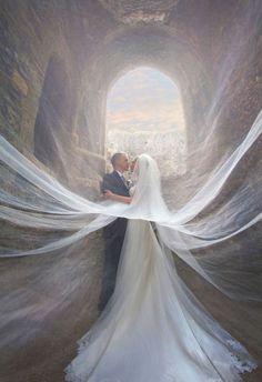 incredible veiled wedding photos of couples
