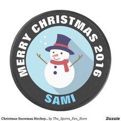 Christmas Snowman Hockey Puck