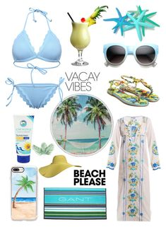 """""""Beach please!"""" by im-karla-with-a-k ❤ liked on Polyvore featuring Enchanté, Juliet Dunn, Casetify, GANT, Vices, ZeroUV, BeachPlease and vacayoutfit"""