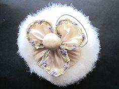 Large Art Deco Swansdown Powder Puff Floral Fabric Handle Powder Puff, Large Art, Floral Fabric, Art Deco, Vanity, Pearl Earrings, Handle, Pearls, Jewelry
