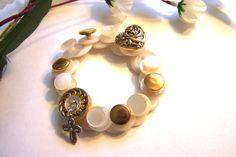 Christian bracelet Vintage Button Bracelet by HeavenlyTreasuresLG