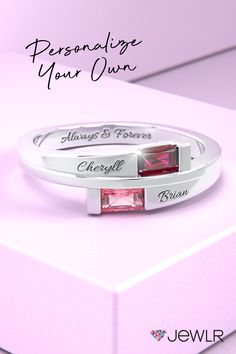 Celebrate your love and family with this custom name ring featuring a choice of gemstones and precious metal. Add a special message and important names for a thoughtful gift for her. Thoughtful Gifts For Her, Unique Gifts For Her, Gifts For Wife, Personalized Promise Rings, Personalized Jewelry, Name Rings, Bypass Ring, Birthstone Jewelry, Precious Metals
