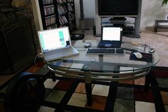 """Yes, I have a real desk in the office, but this is my makeshift """"in front of the TV"""" desk for today.     Awsome Site Helping PeopleWork from Home www.workfromurhome.org"""
