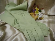 Sage Green Embroidered Cotton Gloves by JBPacrat on Etsy