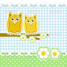 Romantic Background With Owls