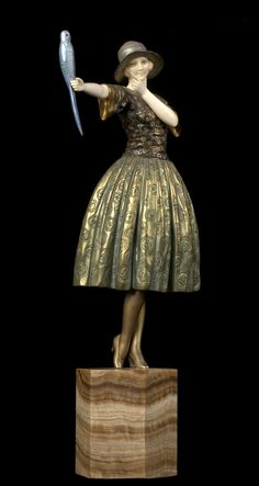 D. Chiparus Art Deco Woman with Bird.