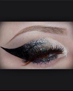 Black and sliver glitter eyeshadow