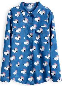 Navy Lapel Long Sleeve Snoopy Print Denim Blouse - snoopy its trending believe it or not! Cara Delevingne Style, Denim Blouse, Funny Fashion, Printed Denim, College Fashion, Blouse Online, Fashion Pictures, Korean Fashion, Fashion Outfits