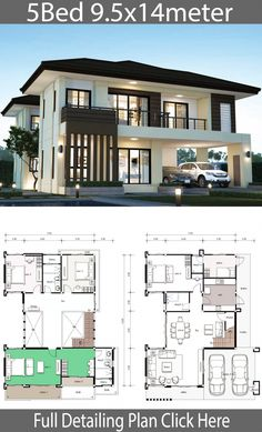House design plan with 5 bedrooms. Style Modern TropicalHouse descriptio… House design plan with 5 bedrooms. Style Modern TropicalHouse description:Number of floors 2 storey housebedroom 4 roomstoilet 3 roomsmaid's room 5 Bedroom House Plans, Porch House Plans, Duplex House Plans, House Layout Plans, Dream House Plans, House Layouts, Modern House Floor Plans, 2 Story House Design, Duplex House Design