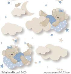 Tapet pentru copii model cu ursuleti albastri gama Babylandia 5403