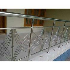 Stainless Steel Steel Balcony Railing, Rs 700 /square feet, Y. Steel Grill Design, Steel Railing Design, Staircase Railing Design, Modern Stair Railing, Railings, Window Grill Design Modern, Balcony Grill Design, Grill Door Design, Balcony Railing Design