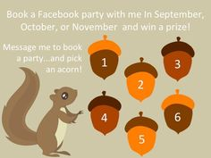 Host an online Facebook party this month or next and treat your self to ALL the great hostess rewards! If interested pick an acorn to see what you WON- (party must be booked in Sept, Oct, or Nov & reach $150 in sales) Acorns vary from mini heaters, wraps, etc... Which # treat do you chose? Plus.... I do all the work you just sit back in your pjs, invite your family/ friends and join the party! bridgettsfabnails.jamberrynails.net or click and fill out a host form!! Let's have a Jamming Party!