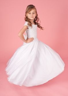 Sarah - Linzi Jay First Communion Dress With Full Multi Layer Tulle Skirt - Plus Size 6xx - Princess Fairytale Pearl Beaded Bodice Cap Sleeves