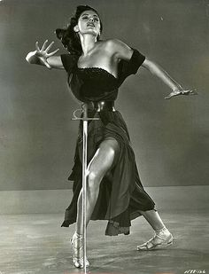 "A different sort of ""sabre dance"" Cyd Charisse in Sombrero directed by Norman Foster, 1953"