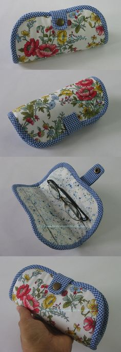 Glasses case to sew Small Sewing Projects, Sewing Hacks, Sewing Tutorials, Sewing Crafts, Sewing Patterns, Quilting Patterns, Fabric Bags, Fabric Scraps, Bag Quilt
