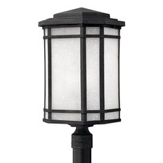 Hinkley Lighting LED Post Light with White Glass in Vintage Black Finish…