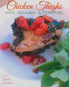 Looking for an easy weeknight meal that is healthy and tasty? These baked chicken thighs fit the bill with the addition of spinach and tomatoes.