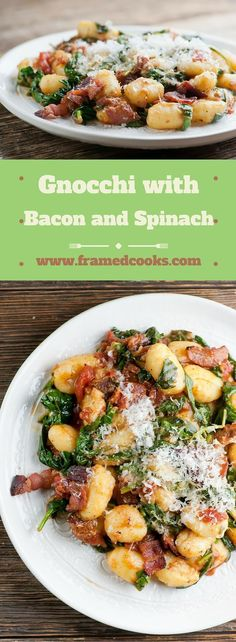 This recipe for gnocchi with bacon and spinach is so easy to make, and also lets you in on where you can buy the best bacon in the world! recipes chicken recipes crockpot recipes easy recipes for dinner recipes healthy food recipes Pasta Recipes, Dinner Recipes, Cooking Recipes, Healthy Recipes, Dairy Free Gnocchi Recipes, Bacon Gnocchi Recipes, Bacon Recipes For Dinner, Endive Recipes, Spinach Recipes