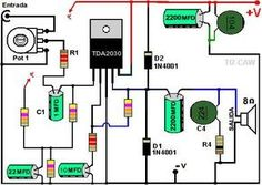 amplificador TDA2030 Electronics Mini Projects, Electronic Circuit Projects, Electronic Engineering, Electrical Engineering, Amplificador 12v, Hifi Amplifier, Audiophile, Electrical Circuit Diagram, Speaker Box Design