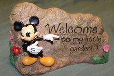Disney Mickey Mouse Welcome to My Garden Stone Rock Yard Decor Brand New | eBay