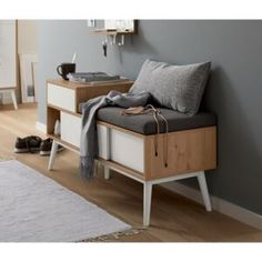 Bench with shoe compartment Bench With Storage, Entryway Bench, Office Desk, Modern Design, Diy Projects, Bedroom, Furniture, Home Decor, Forslag