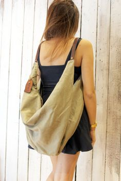 """Large Handmade Italian Canvas & Leather backpackTote """"City"""" Tote Backpack, Leather Backpack, Leather Bag Pattern, Chest Rig, Hippie Bags, Patchwork Bags, Cloth Bags, Canvas Leather, Handmade Bags"""