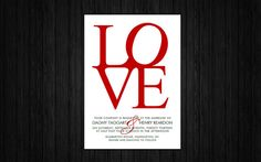 Printable LOVE wedding invitation suite RSVP & thank by JuleryB, $35.00