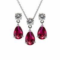 Gift Set: Alexia's Pear Drop CZ Ruby Jewelry Set