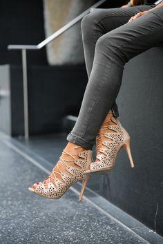 Sequins & Spots: Vivaluxury For Joie // Schutz Arieli lace up booties