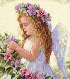 Dimensions Passion Flower Angel Counted Cross Stitch Kit, , hi-res
