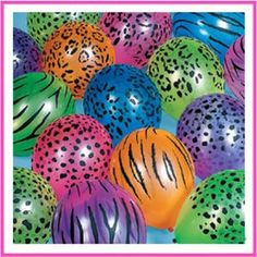 Zebra & Cheetah Animal Print Balloons Party Supplies ~ You Pick Color & Quantity Another pinner said:I was going to make these myself but found Party City sells them :) I have used these for a wild thing party. Zebra Print Party, Cheetah Party, Animal Print Party, Cheetah Birthday, Cat Birthday, Birthday Parties, Birthday Ideas, Beanie Boo Party, Printed Balloons