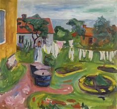 thusreluctant:  Clothes on a Line in Åsgårdstrand by Edvard Munch