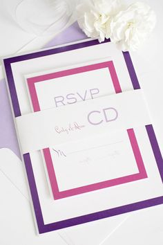 Modern Purple Wedding Invitations with a cute monogram! Shine Wedding Invitations