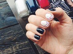 Nails: dark blue and polka dots Dark Nails, My Nails, Pretty Nails, Dark Blue, Polka Dots, Cute Nails, Deep Blue, Belle Nails, Polka Dot