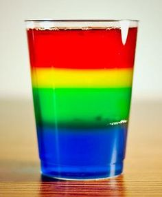 Rainbow Density Experiment uses only sugar water and food coloring