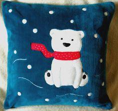 "Handmade applique decorative cushion cover ""Polar Bear"""