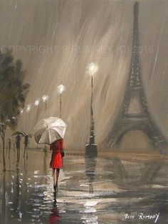 Pretty art painting idea in black, grey, white and a speck of red. PETE RUMNEY FINE ART MODERN ACRYLIC OIL ORIGINAL PAINTING PARIS DREAM RED COAT. Please also