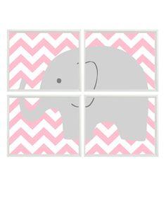 Elephant Nursery Art Print Set Of 4 11x14 - Chevron Pink Gray Decor - Children Kid Baby Girl Room - Wall Art Home Decor. $60.00, via Etsy.