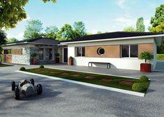 Modèle de maison Alpha Constructions House Front Design, Cabin Homes, Front Yard Landscaping, Landscape Design, My House, House Plans, Mansions, House Styles, Building