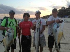 Who said that spearfishing is only for men? Good job! Permits and Cuda in playa del Carmen.