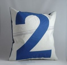 Nautical decor recycled sail pillow  - Blue Number 2. $48.00, via Etsy.