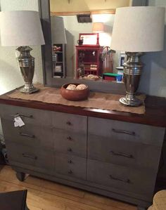Buffet in French Linen Chalk Paint® with a black glaze and finished with clear wax