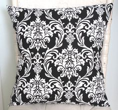 Black and Cream Damask Pillow Cover. 18 x 18. Cotton. by MCCHome, $17.00