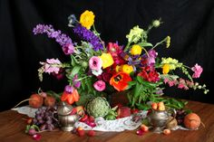 Dutch Masters Still Life - Flower Centerpiece, Fruits and Vegetables by Floral Designer Blumenkiss The Artist, Flower Of Life, Flower Centerpieces, Still Life, Illinois, Floral Design, Floral Wreath, Table Decorations, Flowers
