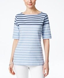 Karen Scott Striped Short-Sleeve Top, Only at Macy's