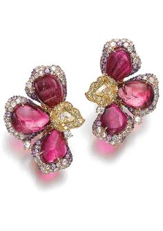 Pair of gem set and diamond ear clips, Michele della Valle. Each of floral design, set with cabochon tourmalines, brilliant-cut and rose diamonds of various colours, signed MdV, numbered, pouch stamped Michele della Valle.