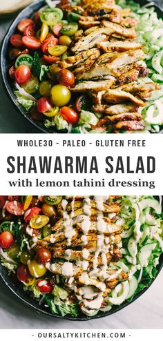 Looking to shake up your paleo dinner routine? Try this lebanese chicken shawarma salad. Mixed greens, fresh herbs, cucumber, tomato, and red onion are topped with slices of crispy oven baked chicken thighs. The marinade is fast, easy, and best of all, 100% make ahead. This is a tried-and-true whole30 recipe youll turn to again and again! #paleo #chicken #recipes #dinner #salads #whole30 #healthyrecipes